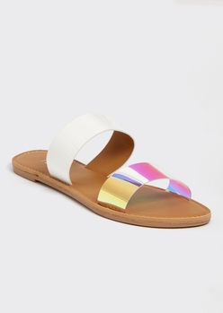 holo metallic double strap sandals - Main Image