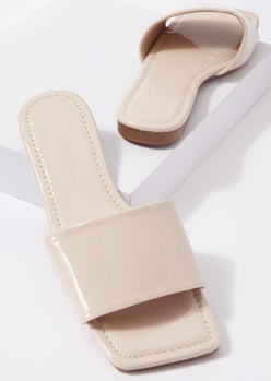 beige faux patent leather square toe slip on sandals - Main Image