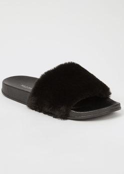 black fluffy strap slide sandals - Main Image
