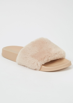 beige fluffy strap slide sandals - Main Image