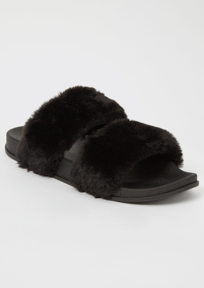 black fluffy double strap slide sandals - Main Image