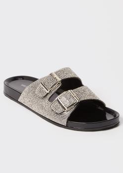 black rhinestone double buckle sandals - Main Image