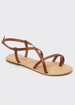 cognac crisscrossing strappy sandals - Main Image