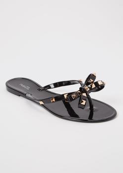 black studded bow jelly flip flops - Main Image
