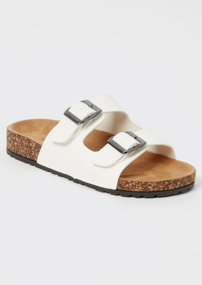 white double buckle strap sandals - Main Image