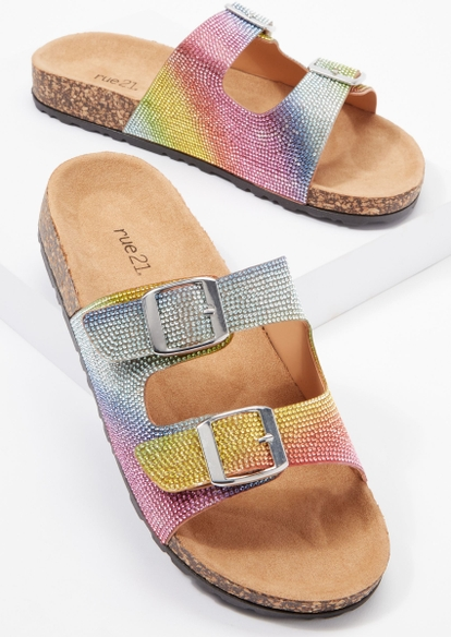 rainbow rhinestone double buckle strap sandals - Main Image