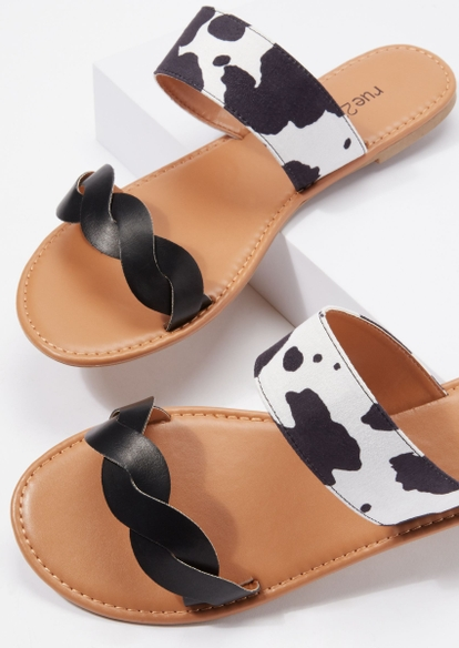 cow print double braided band sandals - Main Image