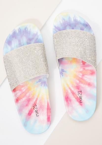 rhinestone tie dye single band slide sandals - Main Image