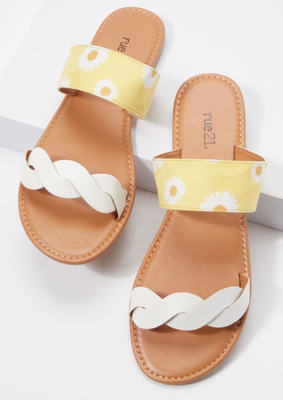 daisy print braided double band sandals - Main Image
