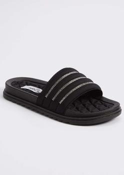 black rhinestone quilted slide sandals - Main Image