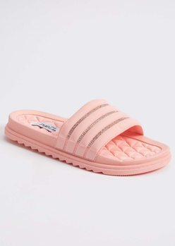 pink rhinestone quilted slide sandals - Main Image