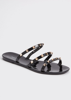 black studded strap jelly sandals - Main Image