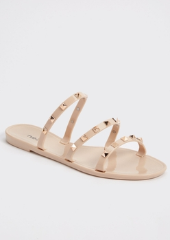 nude studded strap jelly sandals - Main Image