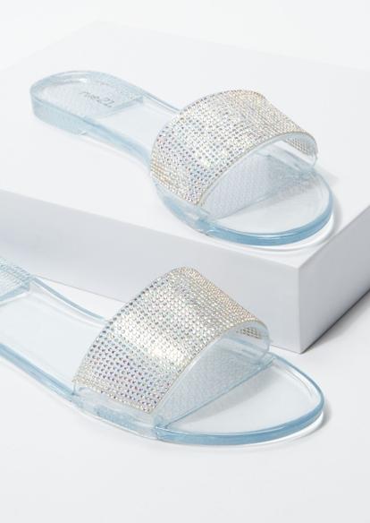 clear jelly rhinestone band sandals - Main Image
