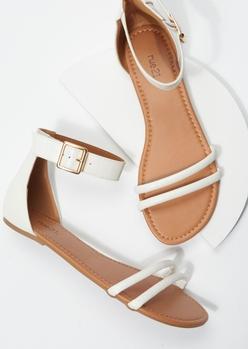 white crocodile double strap sandals - Main Image
