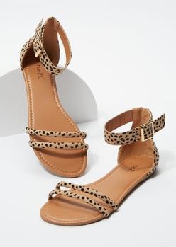 cheetah print double strap sandals - Main Image