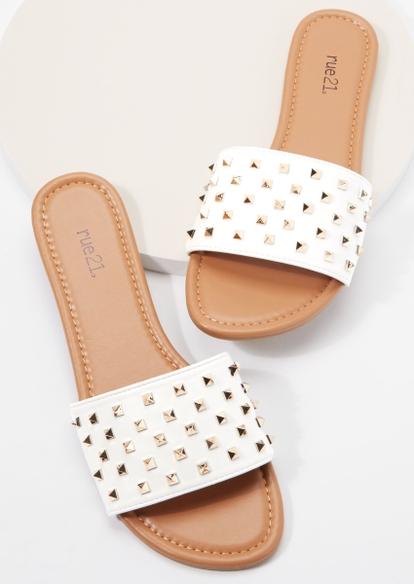 white studded single strap slide sandals - Main Image