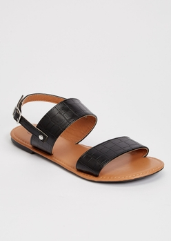 black ankle double strap sandals - Main Image