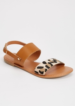 leopard print ankle double strap sandals - Main Image