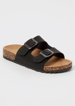 black double buckle strap sandals - Main Image
