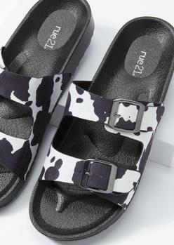 cow print double buckle strap sandals - Main Image