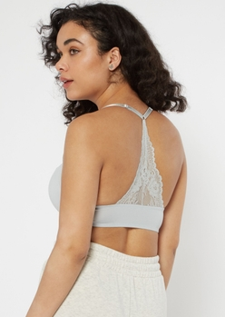 gray racerback lace back t-shirt bra - Main Image