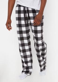 black buffalo plaid plush sleep pants - Main Image