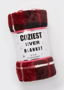 burgundy plaid print plush blanket - Main Image