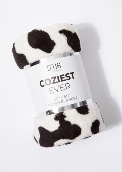 white cow print cozy blanket - Main Image