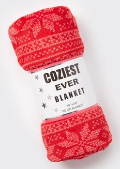 red faire isle plush blanket - Main Image