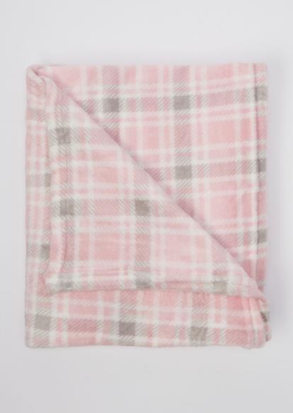 pink plaid print cozy blanket - Main Image