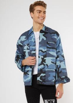blue camo print cargo jacket - Main Image