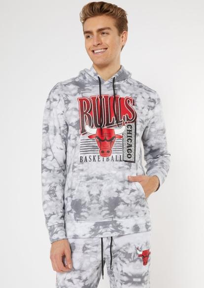 nba chicago bulls gray tie dye graphic hoodie - Main Image