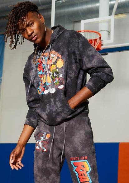 black tie dye space jam graphic hoodie - Main Image