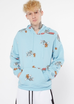 light blue tom and jerry print graphic hoodie - Main Image