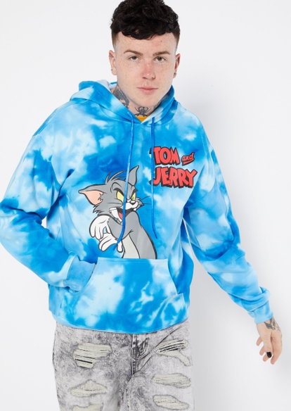 blue tie dye tom and jerry graphic hoodie - Main Image