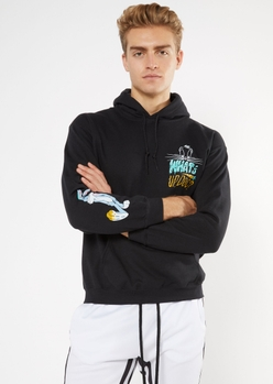 black what's up doc bugs bunny graphic hoodie - Main Image