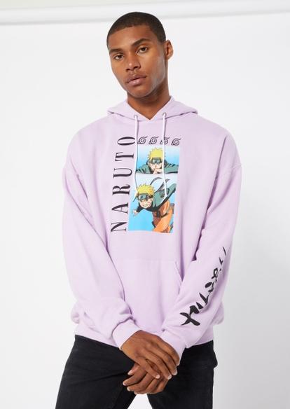 lavender naruto kanji sleeve graphic hoodie - Main Image