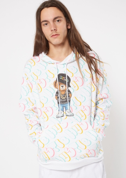 white all over script hustle bear graphic hoodie - Main Image