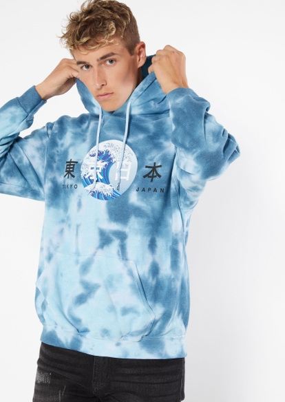 blue tie dye kanji wave graphic hoodie - Main Image