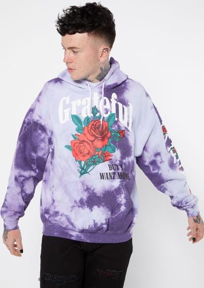purple tie dye print grateful roses graphic hoodie - Main Image