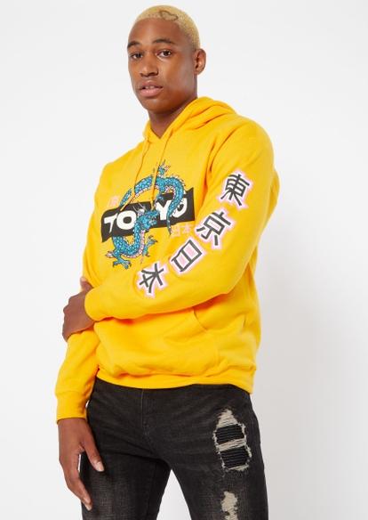 yellow tokyo dragon graphic hoodie - Main Image