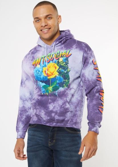 purple tie dye anti social hoodie - Main Image