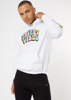 white trippy vibes drippy smiley hoodie - Main Image