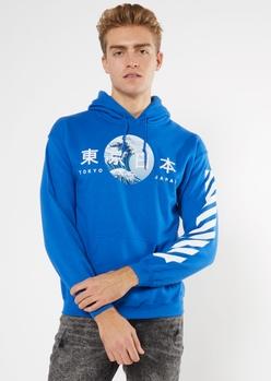 blue tokyo japan wave graphic hoodie - Main Image