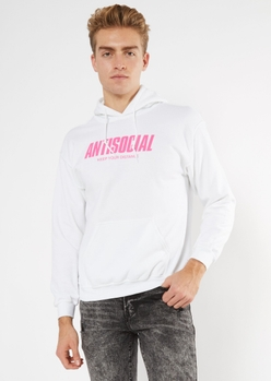 white antisocial butterfly graphic hoodie - Main Image