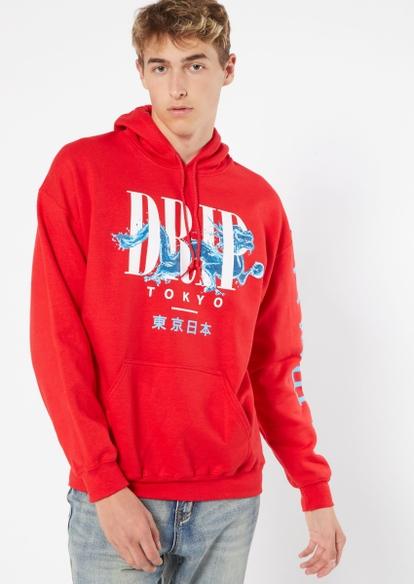 red tokyo drip graphic hoodie - Main Image