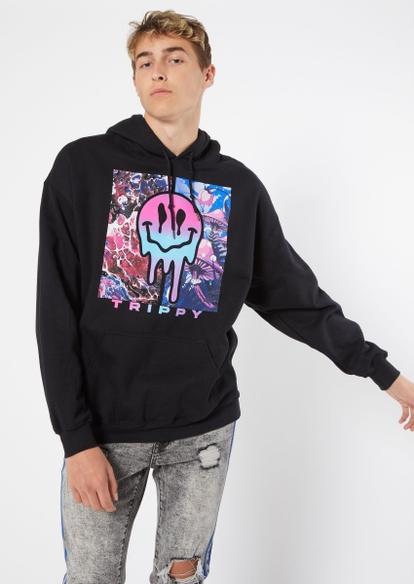 black split smiley graphic hoodie - Main Image
