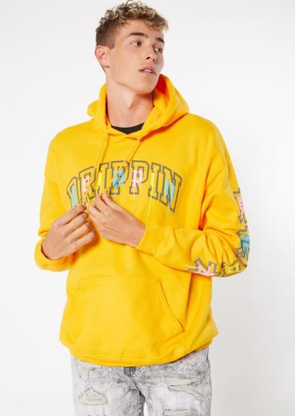 yellow drippin graphic hoodie - Main Image