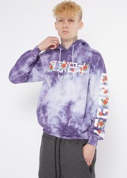 purple tie dye kanji rose hoodie - Main Image